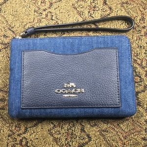Coach Denim Wristlet Corner Zip Wallet